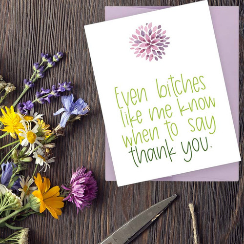 Even Bitches Like Me Know When To Say Thank You Card