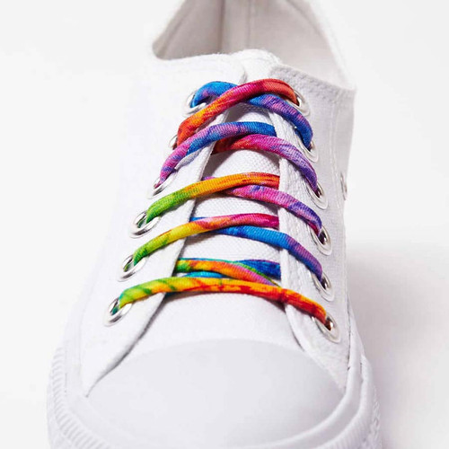 Tie Dye Shoelaces shown on white Converse sneakers