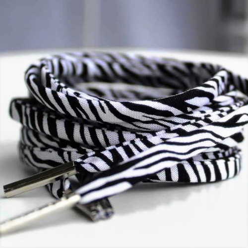 1980's Style Zebra Print Shoelaces
