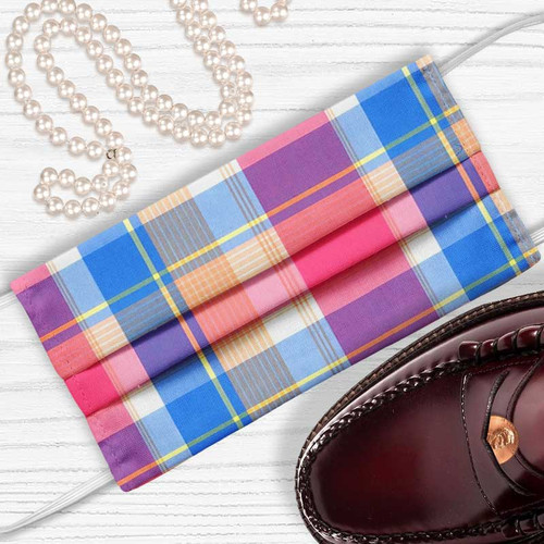 Preppy In Pink Madras Plaid Face Mask