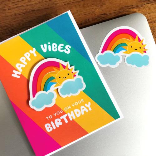 Happy Rainbow Vibes Sticker Birthday Card - Purchase