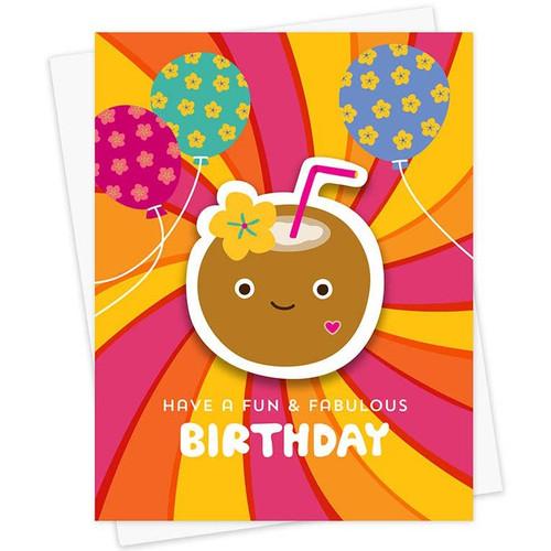 Fun + Fabulous Beach Birthday Sticker Card