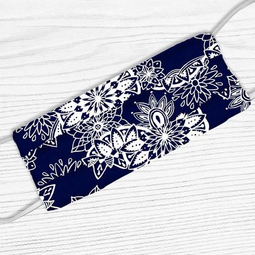 Navy Blue With White Mandala Print Face Mask