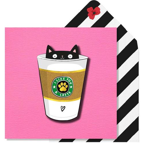 I Like You A Latte Gold Foil Cat Card by Tache