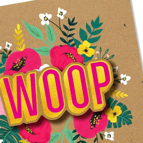 Woop Flower Greeting Card Handmade by Tache
