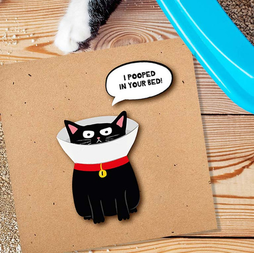 Handmade Greeting Card   I Pooped In Your Bed Cat