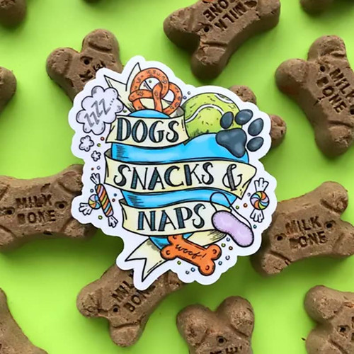Best Dog Tattoo Dogs, Snacks + Naps Sticker