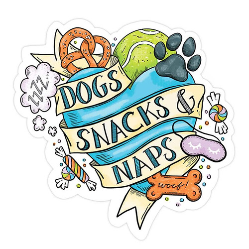 Tattoo Dogs, Snacks + Naps Sticker