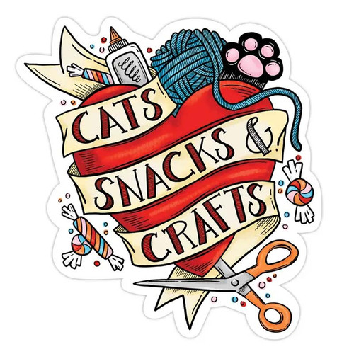 Cats, Snacks + Crafts Tattoo Sticker
