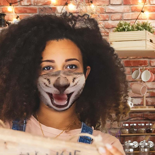 Fits most adults and kids- Kitty Face Mask