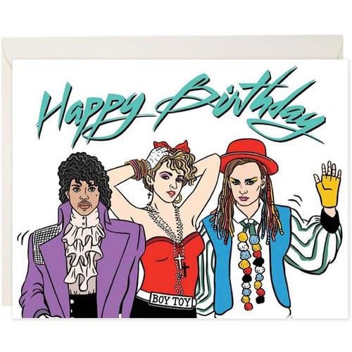80's Pop Music Happy Birthday Card with Madonna, Prince + Boy George