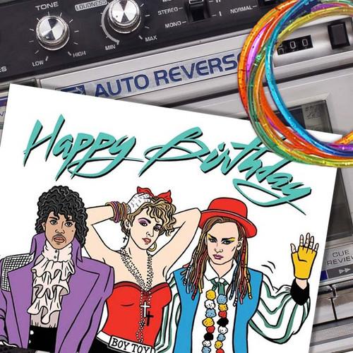 Retro 1980's Birthday Card