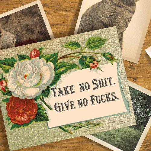 Take No Shit, Give No Fucks Swearing Greeting Card