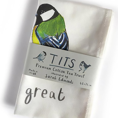 Funny Tit Bird Kitchen Towel