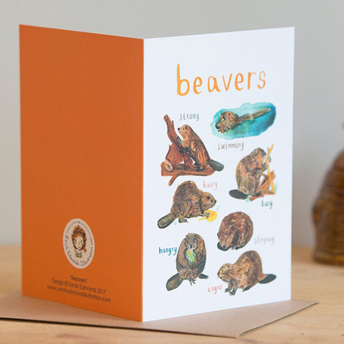 Beaver Pun Greeting Card by Sarah Edmonds