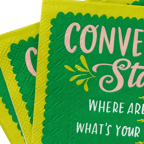 Close-up of Conversation Starters Cocktail Napkins