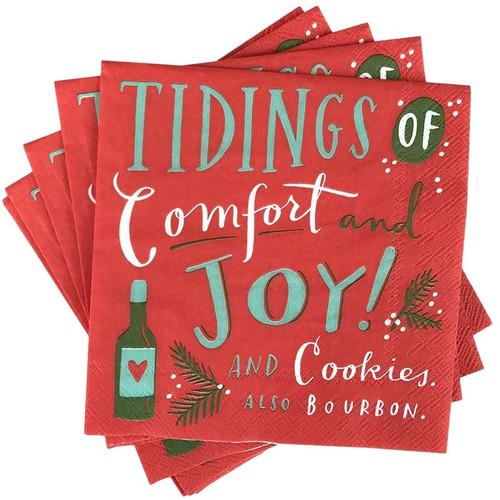 Tidings of Comfort + Joy Christmas Party Napkins