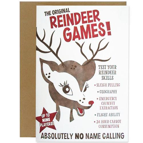 Retro Reindeer Games Christmas Card
