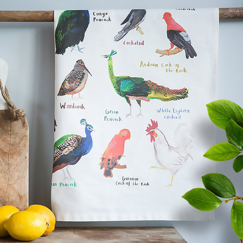 Cocks Tea Towel with artwork by Sarah Edmonds