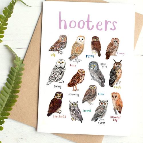 Hooters Greetings Card by Sarah Edmonds