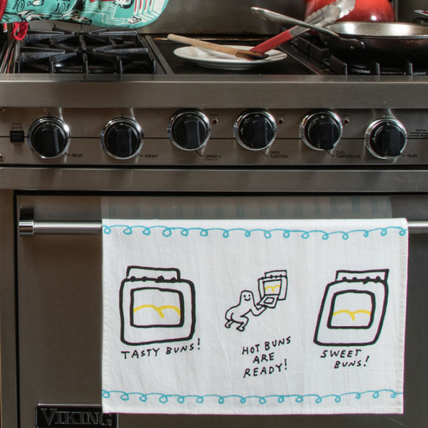 Sweet Hot Tasty Buns Are Ready Dish Towel In Blueq Gifts