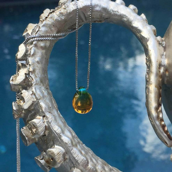 Mermaid's Tear Drop Pendant Necklace