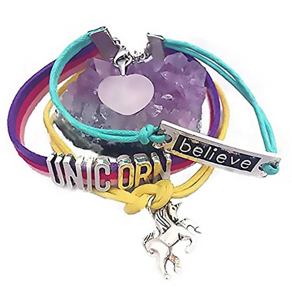 Unicorn Bracelet with Rose Quartz Charm + Raw Amethyst Cluster