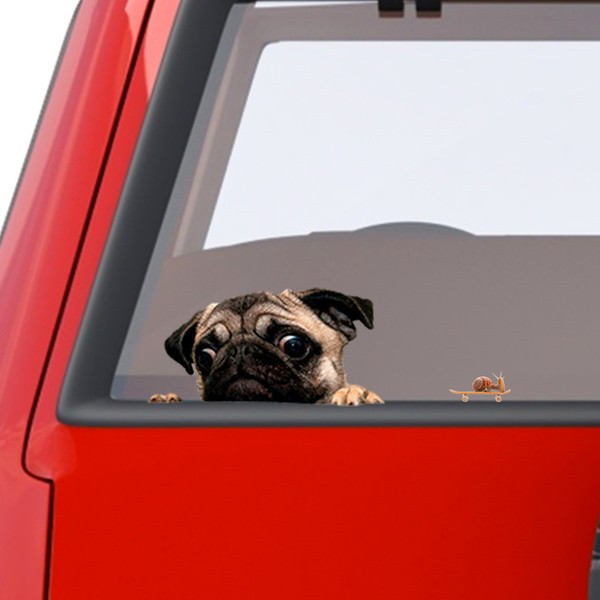 Pug Dog Car Window Decal