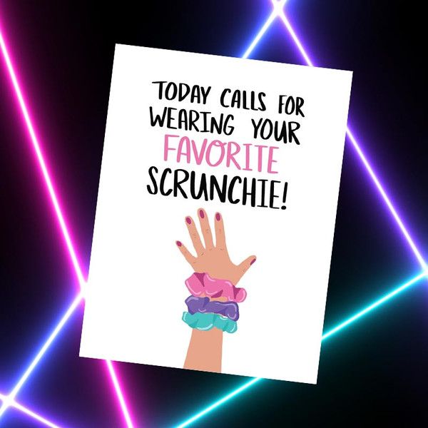 Funny 1980's Scrunchie Greeting Card
