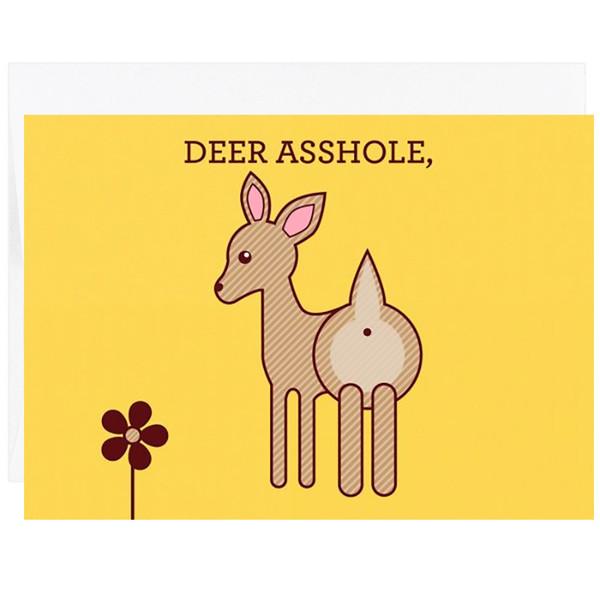 Deer Asshole Greeting Card