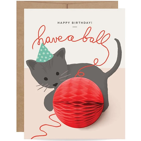 Have A Ball Kitten Pop-up Birthday Card
