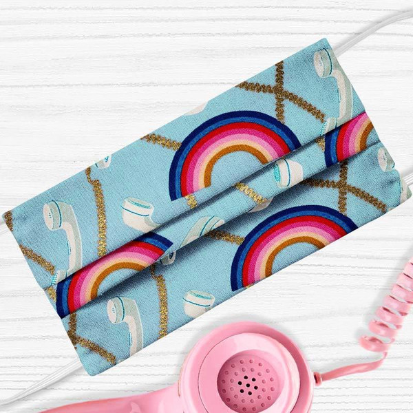 Metallic Retro Phone Rainbow Face Mask