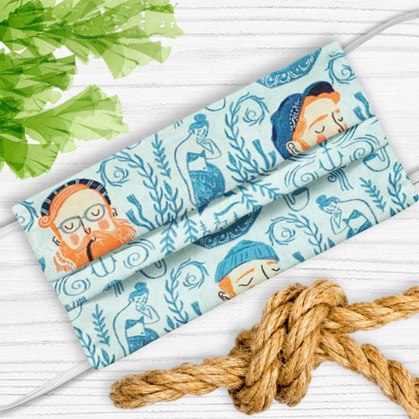 Come Sailor Away Face Mask With Mermaids