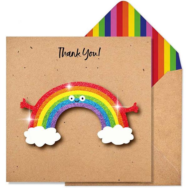 Thank You! Rainbow Glitter Card | by Tache