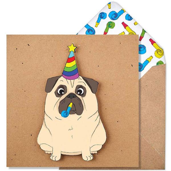 Tache Party Pug Glitter Birthday Card