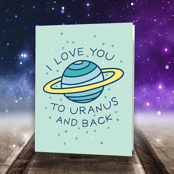 Outer-Space Uranus Pun Funny Greeting Card