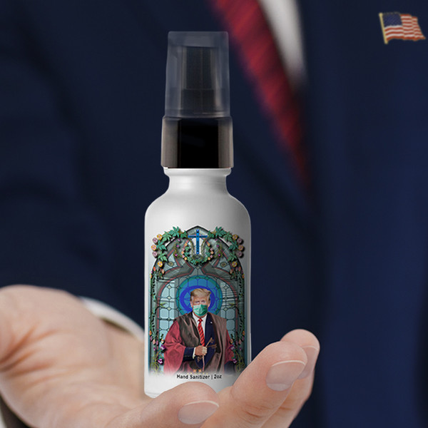 Saint President Trump Masked Hand Sanitizer