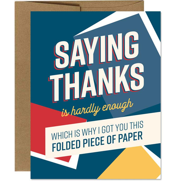 Funny Thank You Card - Folded Paper