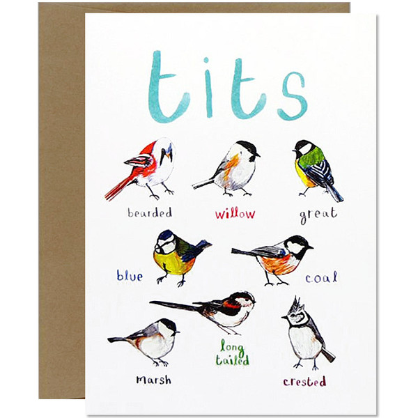 Tit Bird Fowl Language Funny Greeting Card