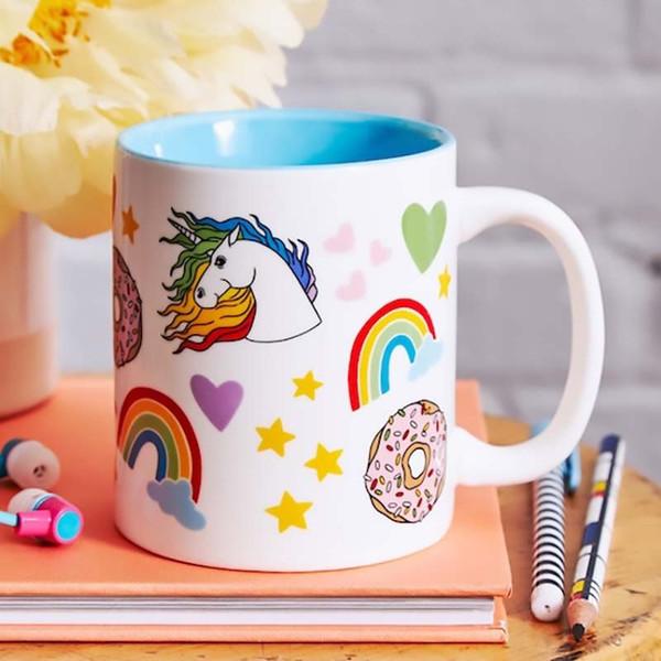 Retro 80's Unicorns, Rainbows + Donuts Coffee Mug