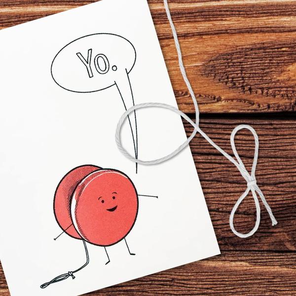 Retro Yo. Yo-Yo Toy Greeting Card