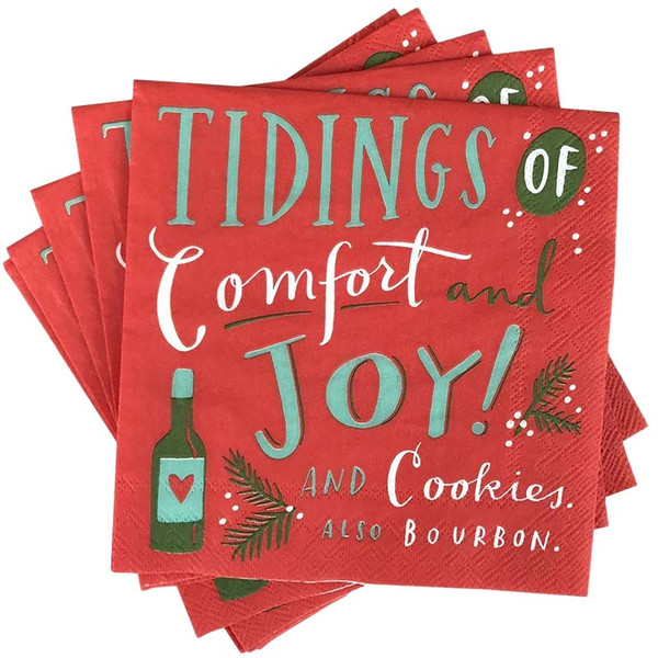 Tidings of Comfort + Joy Christmas Party Napkins