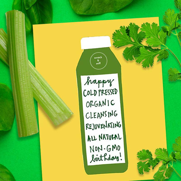 Scratch & Sniff Cold Pressed Juice Diet Birthday Card