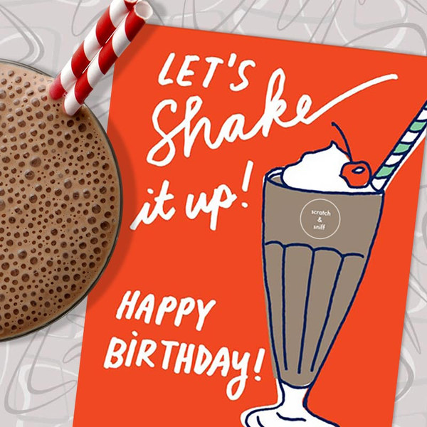 Scratch & Sniff Chocolate Milkshake Birthday Card