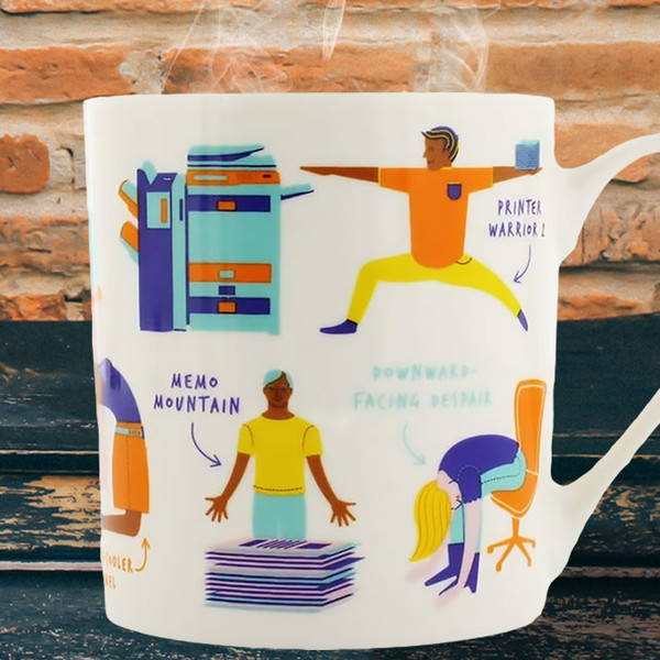 Office Yoga Mug by Ginger Fox