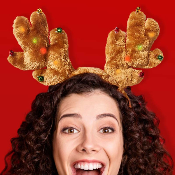 Fuzzy Flashing Reindeer Headband