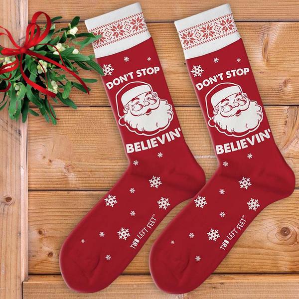 Don't Stop Believin' (in Santa) Men's Christmas Socks