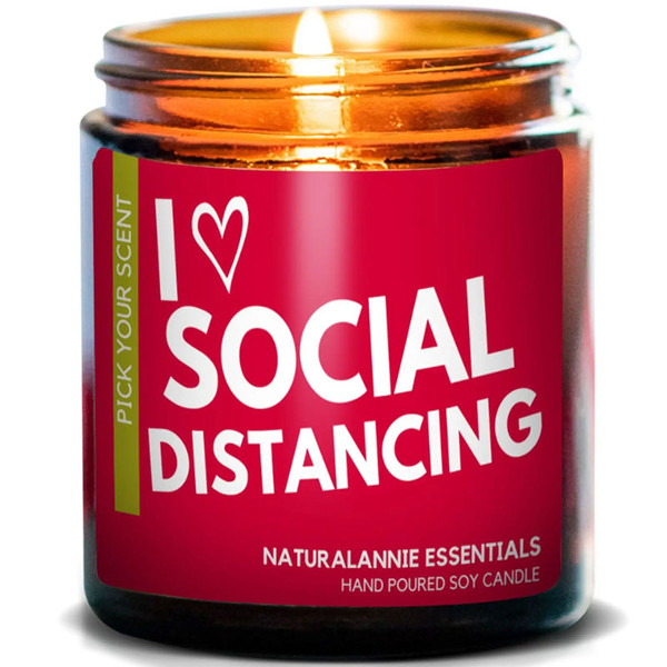 I Love Social Distancing Candle