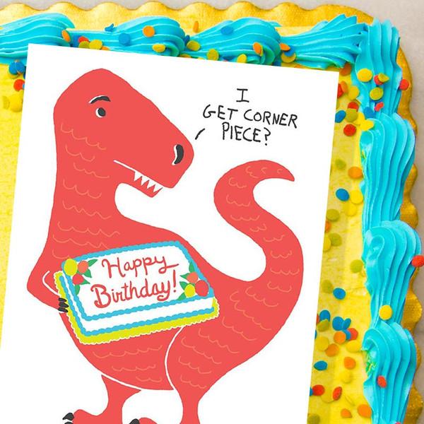 I Get Corner Piece? Dinosaur Birthday Card