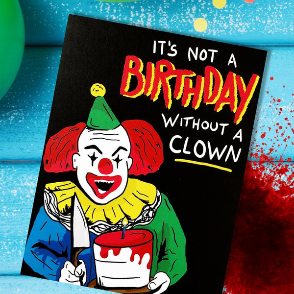 Killer Clown Happy Birthday Card